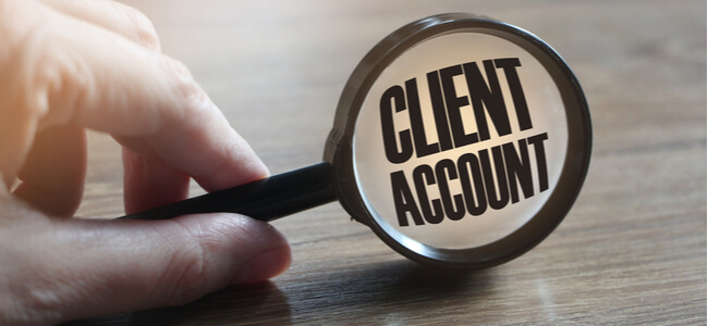 Magnifying glass with the words Client Account
